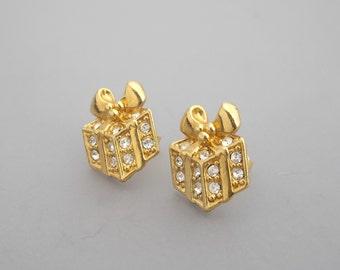 1992 Avon Rhinestone Present Earrings, Rhinestone Earrings, Christmas Earrings, Gift Earrings, Avon Earrings