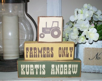New..Boys Or Girls Personalized Primitive Tractor Wood Sign Blocks Nursery Decor Distressed Stacking Blocks
