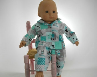 15 inch doll clothes made to fit dolls such as Bitty Baby, Baby Animal Pajamas, 01-0792