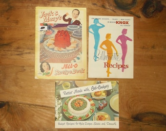 3 Vintage Gelatine Recipe Cookbooks • Jack & Mary's Jell-o Recipe Book • Knox