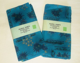Vintage ALOHA SHIRTS Polynesian blue pineapple Prints FABRIC • cotton • 36 inches X 5 yards Total