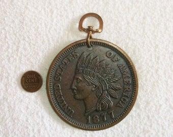 Vintage large faux 1877 Copper Penny Keychain