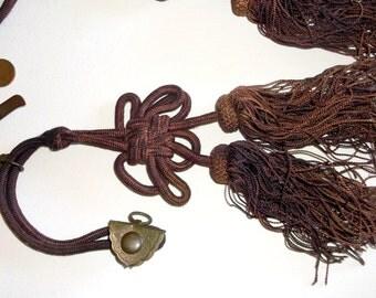 Vintage Brass & Tassel Middle Eastern type Tie Backs • lot of 2 count