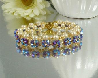 Woven Bracelet Embellished Pearl and Swarovski Crystal