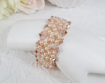 Woven Bracelet with Pearls and Swarovski Crystals in Rose Gold