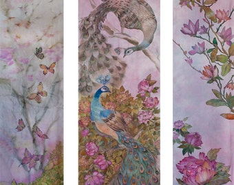 Wall Hanging Triptych Wall Art Hand Painted Silk Romantic Art Gift Peacocks Magnolia  Peonies Ready to Ship