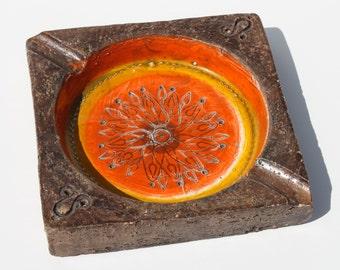 Vintage Mid Century Modern Bitossi Mod Italian Pottery Orange Yellow Ashtray Tray