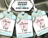 12 Favor Tags, Gift Tag, Thank You Tags, Pastel Hot Air Balloons, Bridal or Baby Shower, Wedding, Engagement Party, Birthday, Any Occasion