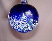 Blown Glass Christmas Ornament/Ball/Suncatcher, Holiday,Cobalt Blue & White Color
