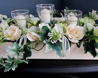 Floral Rose Candle Box Cream White Pastel Sage Green Romantic Rose Candle Box Wedding Rose Candle Box Floral  Rose Candle Box Centerpiece