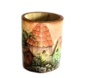 Country Pencil Holder with bird houses decoupage