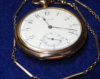 Very Nice Gentleman's E. Howard Pocket Watch With Chain-Just Serviced