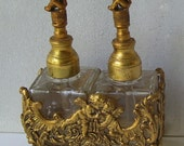 Vintage Globe 24 Kt Gold Plated Double Square Perfume Bottles with Cherub Daubers ,  Gold Plated Metal Cherub Footed Holder