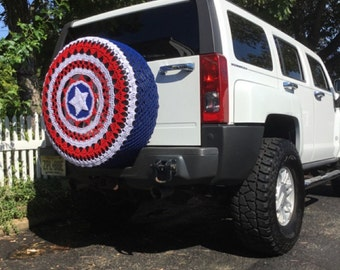 Patriotic Red White and Blue with Star Spare Tire Cover Crocheted FREE SHIPPING Perfect for Hummer Jeep Kia Sportage Honda CRV Toyota Rav4