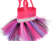 Pink Zebra and Polka Dot Zebra Ribbon Tutu Bag With FREE Monogram Name Embroidered on it, Princess Style, Easter Basket Bag