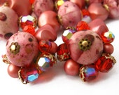 Dark Pink Necklace, Chunky Bead Necklace, Earrings and Necklace Set, Autumn Triple Strand Necklace, Pink Chunky Necklace, Clip On Earrings