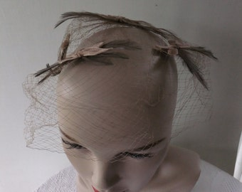 Vintage Veil Netting Hat Brown with Feathers and Velvet Bows 1950s Retro Wedding Prom