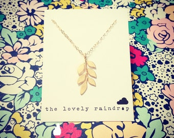 Leafy Necklace - gold leaf pattern branch - Perfect Gift - Dainty Everyday Jewelry - Gift For - Minimalist - Minimal - The Lovely Raindrop