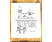 DIGITAL Custom House Portrait, Black and White, House Illustration, Printable Art, Line Drawing
