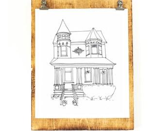 DIGITAL CUSTOM House Portrait, Black and White, Wedding Venue, Landmark, House Illustration, Printable Art, Line Drawing