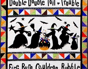Witches Quilt Q577 Halloween Witch Silhouette Bats Applique Quilt Pattern