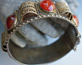 Carnelian Sterling Gold Wash Filigree Bracelet