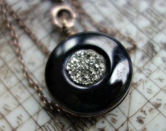 Victorian Carved Whitby Jet Mourning Pyrite Fob & Chain Gold Fill