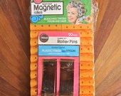 Vintage Beauty 60s Wil-Hold Magnetic Orange Plastic Rollers with Pins