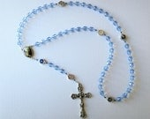 Blue Rosary with Miraculous Medal Beads and Life of Mary Images