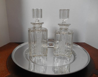Vintage Scotch and Rye Liquor Decanters on Aluminum Serving Tray -- Lead Crystal Pressed Glass decanters by Fostoria