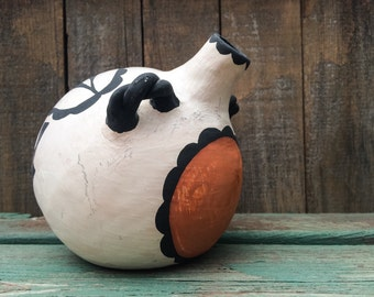 Vintage Hand Coiled Pottery Canteen with Parrot Acoma Pottery, Southwestern Decor