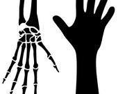 Skeletal Hands Stencil