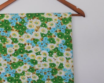 floral in granny smith green...vintage fabric yardage