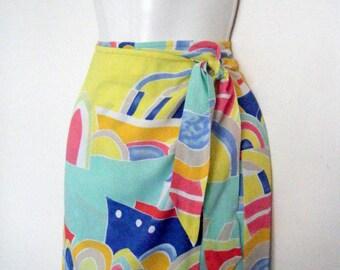 1990s POP ART print maxi pencil WRAP skirt, high waist, size m