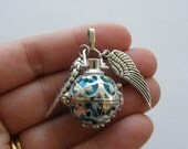 1 Wish box pendant  blue antique silver tone M223