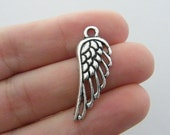 6 Angel wing charms antique silver tone AW109