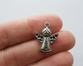 8 Angel charms antique silver tone AW116