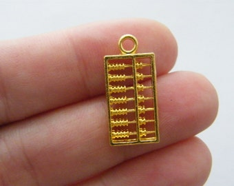 10 Abacus charms bright gold tone GC36