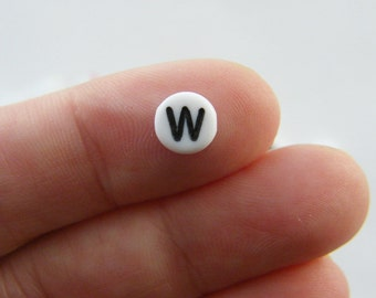 100 Letter W acrylic round alphabet beads