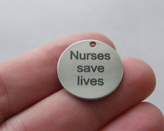 1 Nurses save lives tag charm 20 x 1mm  stainless steel TAG9-1