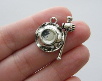 2 Top hat, walking stick and gloves charms antique silver tone CA27