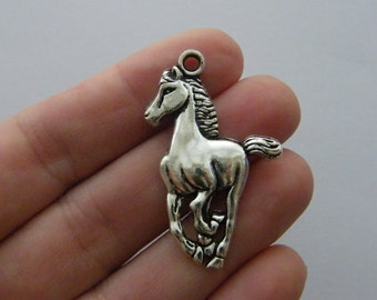2 Horse pendants antique silver tone A607