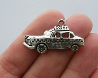 BULK 20 NY taxi charms antique silver tone WT105
