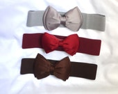 Bow cinch belt ,Wide elastic stretch corset belt, cinch belt with big bow,Gray belt,grey belt, brown belt, wine belt ,24 inch to 29 1/2 inch