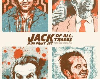 Jack Nicholson Set of 4 Mini Screen Prints