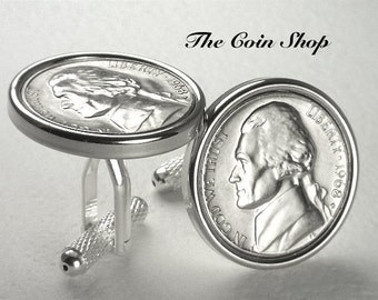 1968 - 49th Anniversary - Birthday Gift - Genuine Mint Quality U.S. Nickel Coin Cufflinks - FREE Cufflink Box - FREE & Reduced SHIPPING !