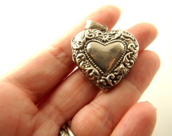 Repousse Heart Locket - Sterling Silver - Vintage