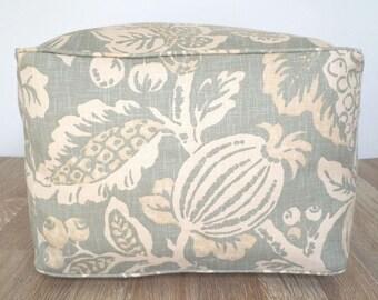 Caso de otomano PUF verde salvia 20 x 20 x 14, haba cuadrados bolso silla cubierta floral impresión colores tierra, piso grande amortiguador caso sala estar