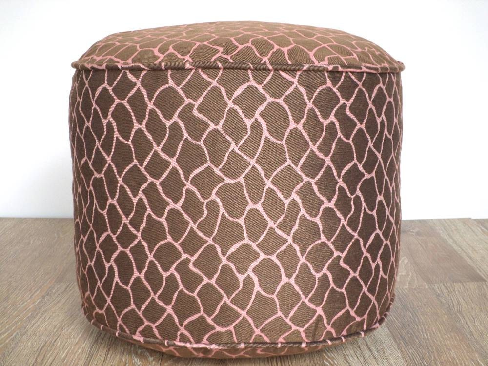 Animal Print Floor Pillows : Brown pouf ottoman 18 round cushion animal print by anitascasa