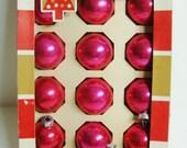 Hot Pink Mercury Glass Christmas Ornaments - Coby - Original Box